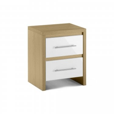 Stockholm White High Gloss 2 Drawer Bedside Cabinet