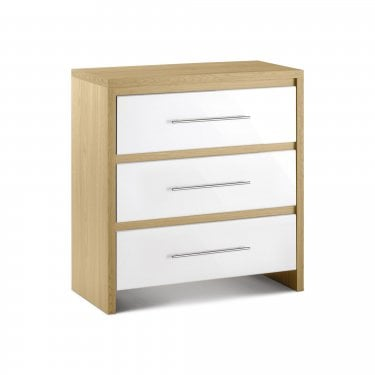 Stockholm White High Gloss 3 Drawer Chest
