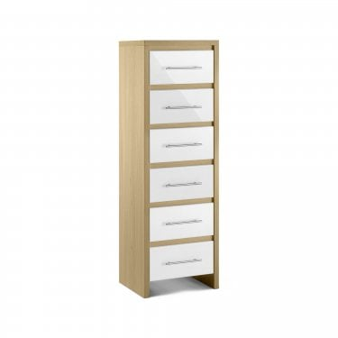 Stockholm White High Gloss 6 Drawer Tall Chest