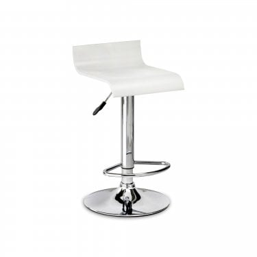 Stratos White & Chrome Bar Stool