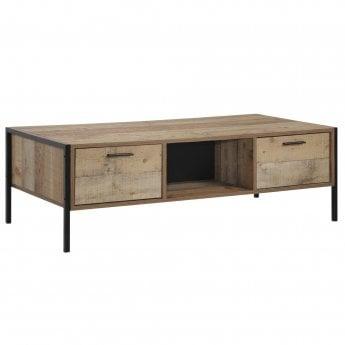 Stretton Rectangular 4 Drawer Coffee Table, Distressed Oak