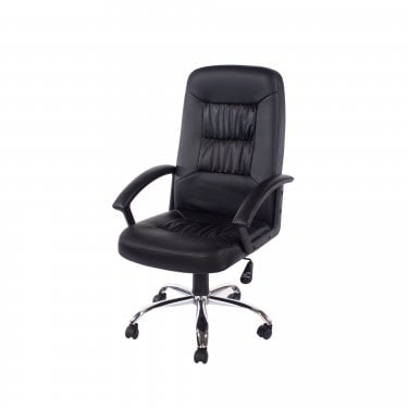 Studio Home Office Chair Set Of 2, Black Faux Leather & Polished Chrome