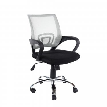 Studio Home Office Chair Set Of 2, Black & Grey Mesh & Polished Chrome