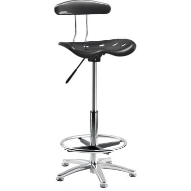 Tek Black Draughter Chair with Steel Base