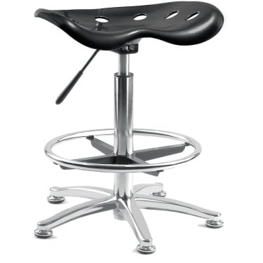 Tek Black Draughter Stool with Steel Base
