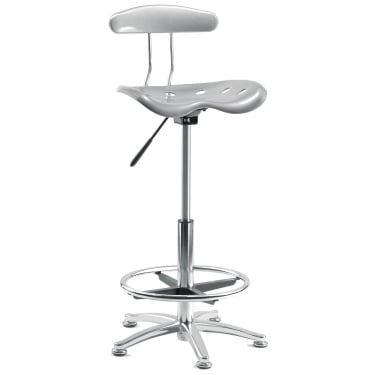 Tek Silver Draughter Chair with Steel Base
