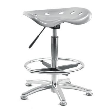 Tek Silver Draughter Stool with Steel Base