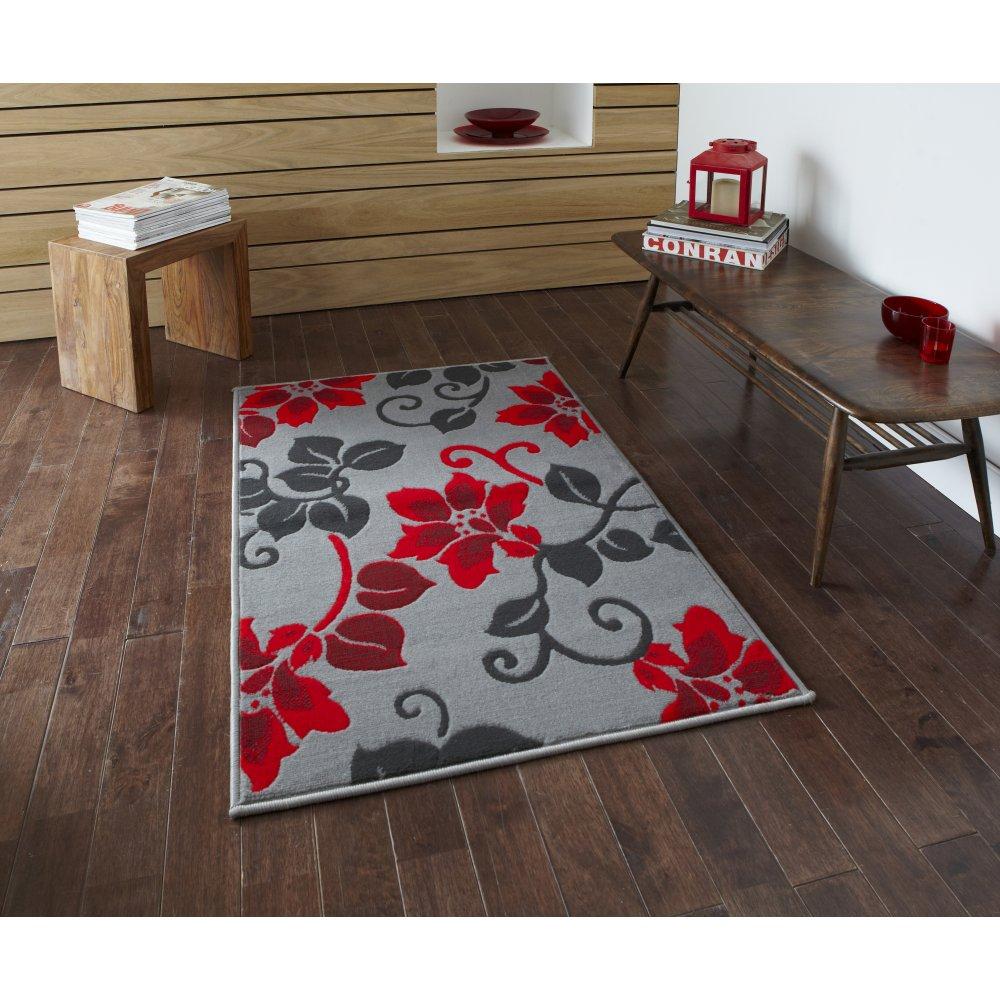 think rugs modena 8062 grey red rug leader stores. Black Bedroom Furniture Sets. Home Design Ideas