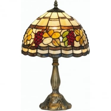 Oaks Lighting Tiffany Grapes Stained Glass Table Lamp OT6018/12