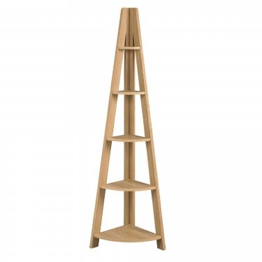 Tiva Oak Ladder Corner Shelving Unit