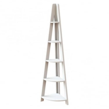 Tiva White Ladder Corner Shelving Unit