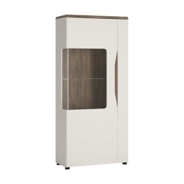 Toledo High Gloss Alpine White & Stirling Oak 1 Door Left-Handed Low Display Unit