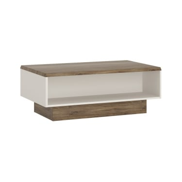 Toledo High Gloss Alpine White & Stirling Oak Wide Coffee Table