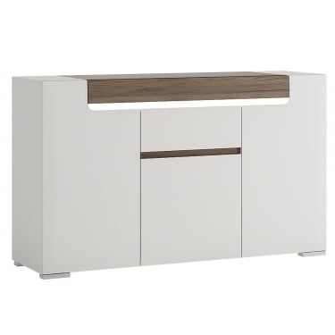 Toronto High Gloss White & San Remo Oak Inset 1 Drawer 3 Door Sideboard