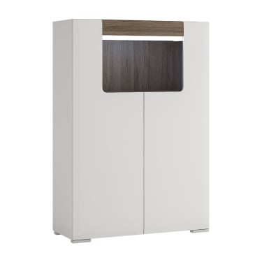 Toronto High Gloss White & San Remo Oak Inset 2 Door Low Cabinet