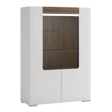Toronto High Gloss White & San Remo Oak Inset 2 Door Low Display Unit