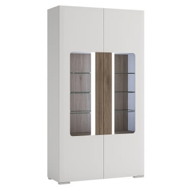 Toronto High Gloss White & San Remo Oak Inset 2 Door Tall Wide Display Unit
