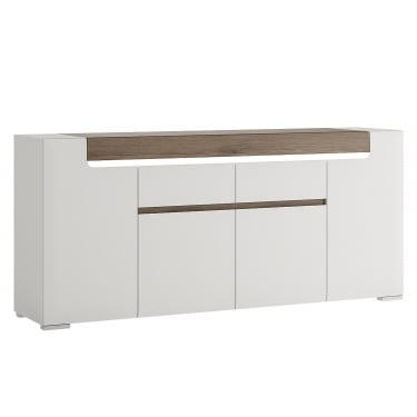 Toronto High Gloss White & San Remo Oak Inset 2 Drawer 4 Door Wide Sideboard
