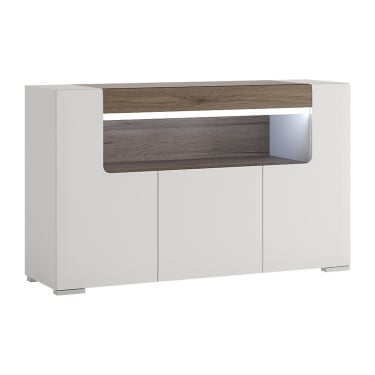 Toronto High Gloss White & San Remo Oak Inset 3 Door Sideboard