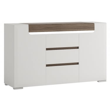 Toronto High Gloss White & San Remo Oak Inset 3 Drawer 2 Door Sideboard