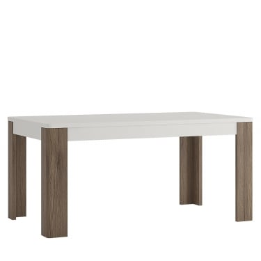 Toronto High Gloss White & San Remo Oak Inset Dining Table