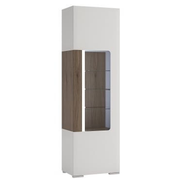 Toronto High Gloss White & San Remo Oak Inset Tall Narrow Display Unit