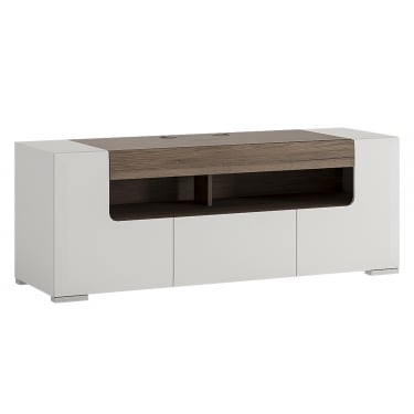 Toronto High Gloss White & San Remo Oak Inset Wide TV Unit