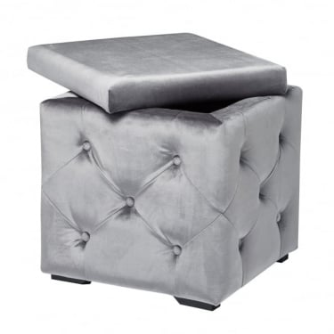 LPD Furniture Valentina Silver Velvet Storage Box