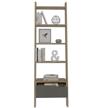 Vaska 1 Drawer Ladder Bookcase, Bleached Pine