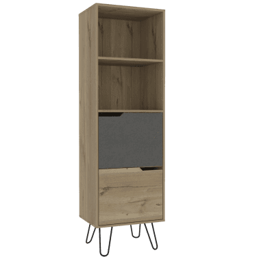 Vaska Tall 2 Door Bookcase, Bleached Pine