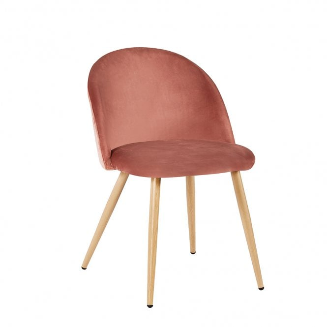 Venice Dining Chair Set Of 2, Pink & Velvet