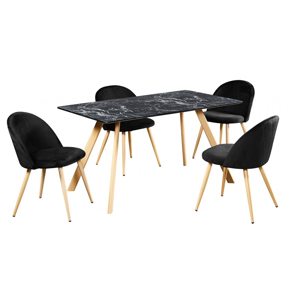 Lpd Furniture Venice Dining Table Black Marble Leader Furniture