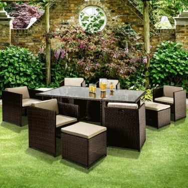 Richmond Garden Verano Cube 6 Seat Mocha Brown Rattan Patio Dining Set