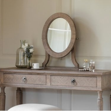 Verel Dressing Table Mirror, Aged Mindy Ash