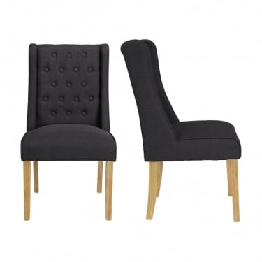 Verona Charcoal Wing Dining Chair Pair