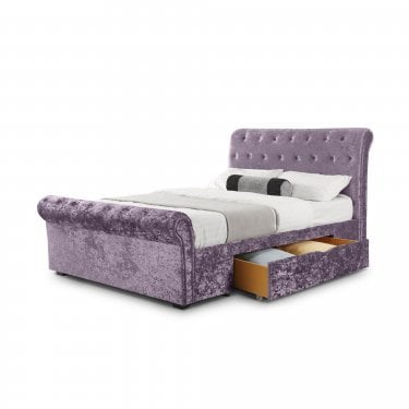Verona Lilac Crushed Velvet Kingsize Sleigh Bed