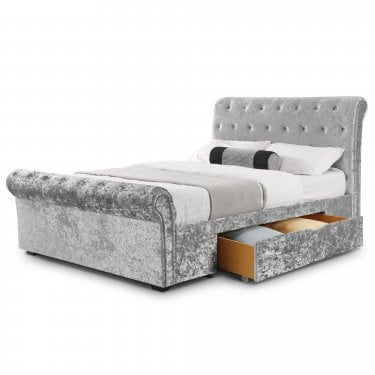 Verona Silver Crushed Velvet Double Sleigh Bed