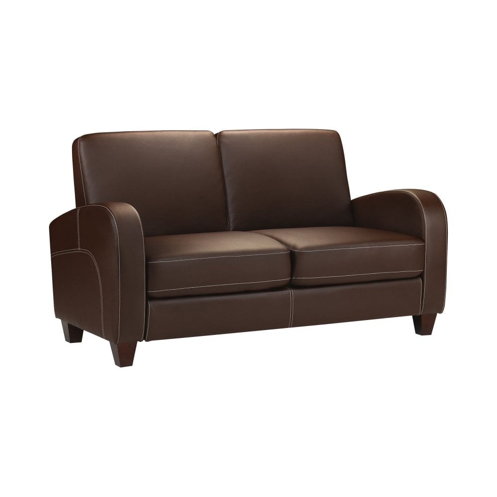 Sensational Vivo Chestnut Faux Leather 2 Seater Sofa Download Free Architecture Designs Scobabritishbridgeorg