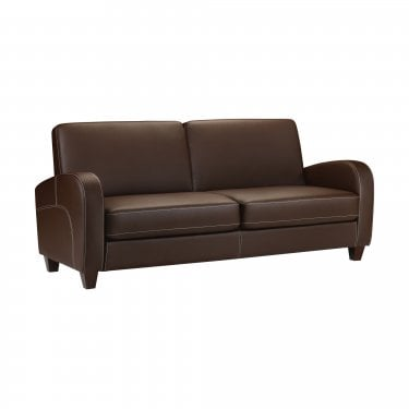 Vivo Chestnut Faux Leather 3 Seater Sofa
