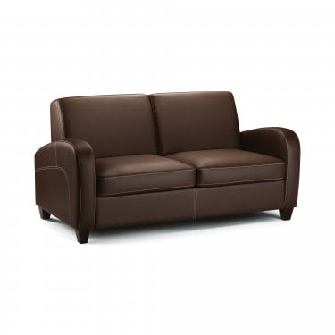 Vivo Chestnut Faux Leather Fold Out Sofa Bed