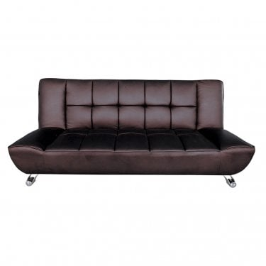 Vogue 3 Seater Futon, Brown & Faux Leather