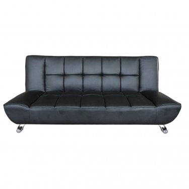 Vogue Black 3'0 Sofa Bed with Chrome Legs