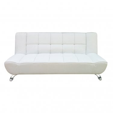 Vogue White 3'0 Sofa Bed with Chrome Legs