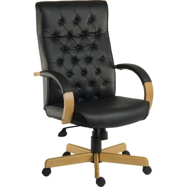 Warwick Black Leather Executive Armchair with Light Wood Base