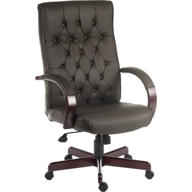 Warwick Brown Executive Armchair with Light Wood Base