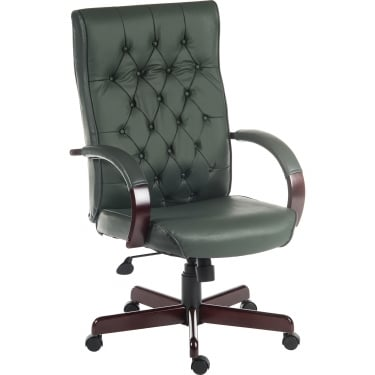 Warwick Green Executive Armchair with Light Wood Base