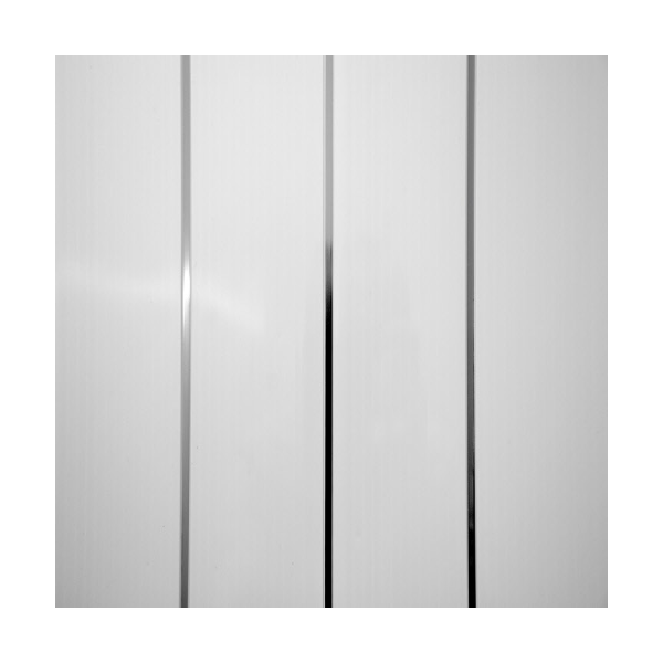 White With Twin Silver Strip Pvc Plastic Cladding