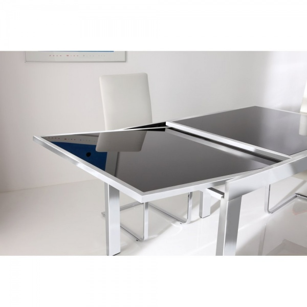Dining table contemporary dining table extending for Extendable glass dining table