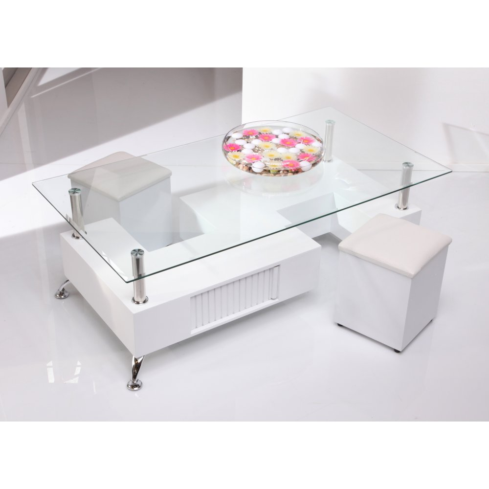 White Glass Coffee Table Set Images