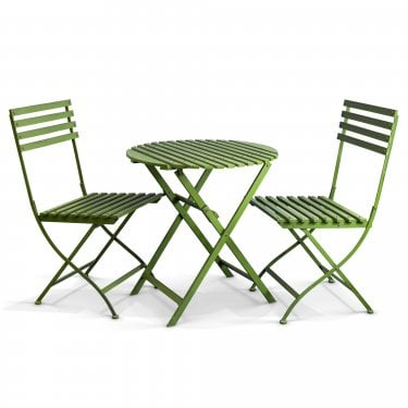Wimbledon Handpainted Aged Metal 3 Piece Folding Patio Dining Set